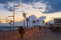 Tourists promenade twilight , Paphos  Cyprus
