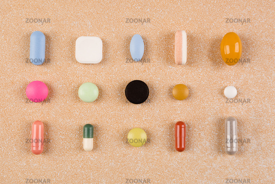 Colorful pills collection, top view.