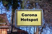 Place sign Corona Hotspot