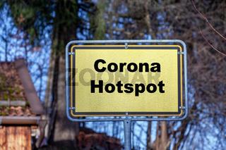 Ortsschild Corona Hotspot