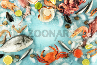 Fish and seafood variety, a flat lay top shot, a frame with a place for text on a blue background. Fish, shrimps, crab, squid, mussels and clams, octopus and scallops, a design template