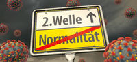 Corona Pandemic - Second Wave. A place-name sign with the German words