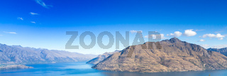 Queenstown in New Zealand. The city of adventure and nature. Web banner