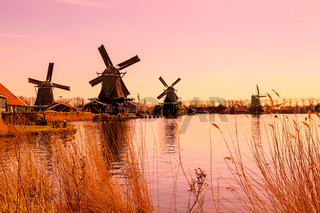 Panorama with windmills in Zaanse Schans, traditional village, Netherlands, North Holland