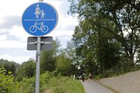 symbolically bike, hiking and pedestrian path