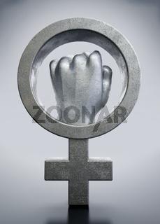 Iron fist inside the female symbol. 3D illustration