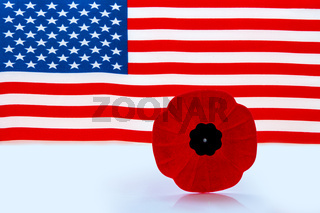 A remembrance day poppy flower with a American Flag on the background.