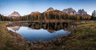 Beautiful autumn evening Lake Antorno and Three Peaks of Lavaredo, Dolomites, Italy