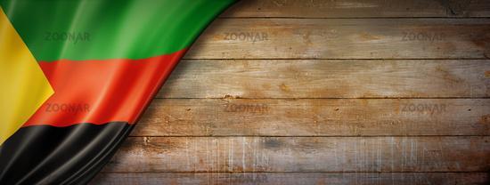 Azawad MNLA flag on vintage wood wall banner