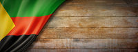 Azawad MNLA flag on vintage wood wall banner