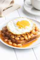Toast with fried egg and baked beans.
