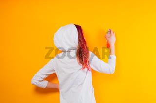 Lifestyle creative teenage girl, freelance artistic work