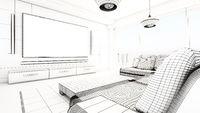 Modern living room wireframe rendering. 3D illustration