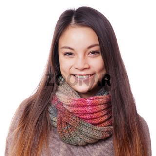 happy young asian woman