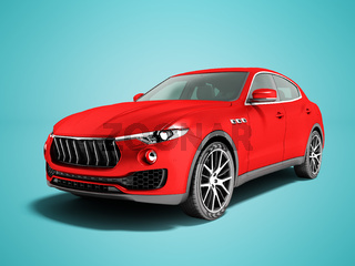Modern car crossover for business trips 3d render on blue background with shadow