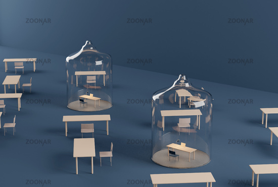 Home office under glass dome. Isolation during covid-19 pandemic quarantine. 3d render. physical distancing blue background