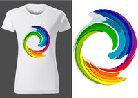 Women White T-shirt Design with Colorful Abstraction