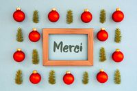 Christmas Texture, Ball, Branch, Frame, Merci Means Thank You