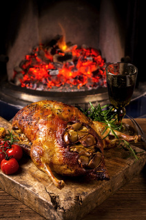 duck roasted with apple and vegetables