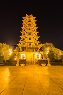 zhangye wooden pagoda at night