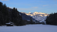 Winter morning scene in the Saanenland valley, Switzerland.