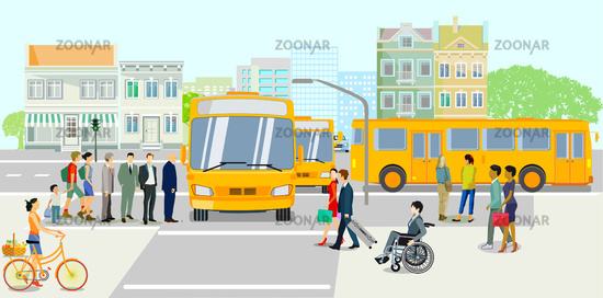 Public transport with bus stop, vector illustration