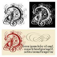 Decorative Gothic Letter D. Uncial Fraktur calligraphy.