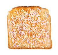 top view of sweet toast with fruithails isolated