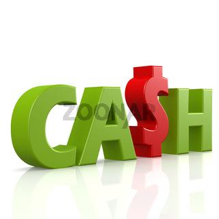 Cash word in green
