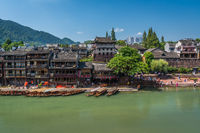 Old wooden boats in Fenghuang