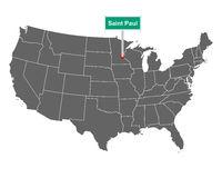 Saint Paul Ortsschild und Karte der USA - Saint Paul city limit sign and map of USA