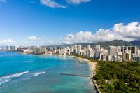 Aerial view of Waikiki looking towards Honolulu on Oahu