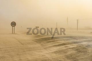 Sandstorm near Swakopmund in Namibia in Africa.