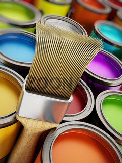 Paintbrush and multicolored paint cans