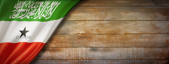 Somaliland flag on vintage wood wall banner