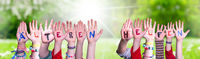 Kids Hands Holding Word Aelteren Helfen Means Help Elderly, Grass Meadow