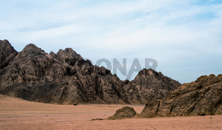 rocky mountains in the desert and blue sky with clouds in sharm el sheikh egypt