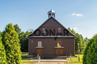 A Little Wooden Mosque. Wooden Countryside Church