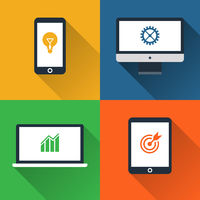 Flat design long shadow styled gadget icon set