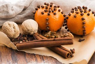 Christmas decoration orange fruit herbs baking bakery