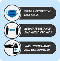 covid-19 coronavirus safety measure and precaution sign