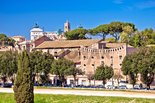 Rome. The Circus Maximus and ancient Rome landmarks view