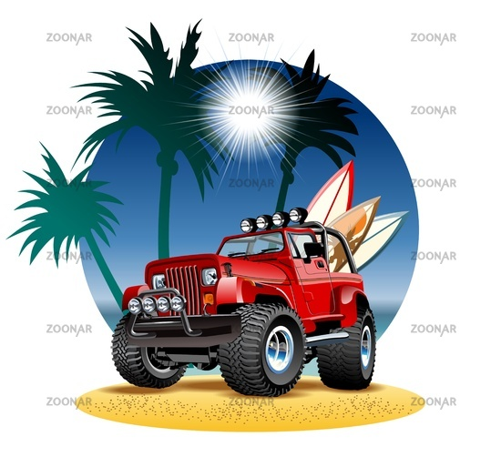 Cartoon jeep on beach