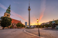 The empty Alexanderplatz in Berlin before sunrise