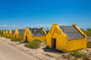 Row of yellow slave houses on Bonaire