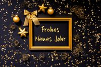 Frame, Golden Christmas Decoration, Ball, Frohes Neues Jarh Means Happy New Year