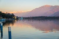 Landscape of Iseo lake at sunset