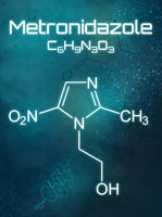 Chemical formula of Metronidazole on a futuristic background