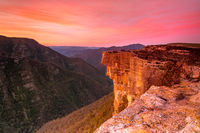 Red sunset over Kanangra Walls