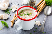 Homemade mushrooms champignons soup